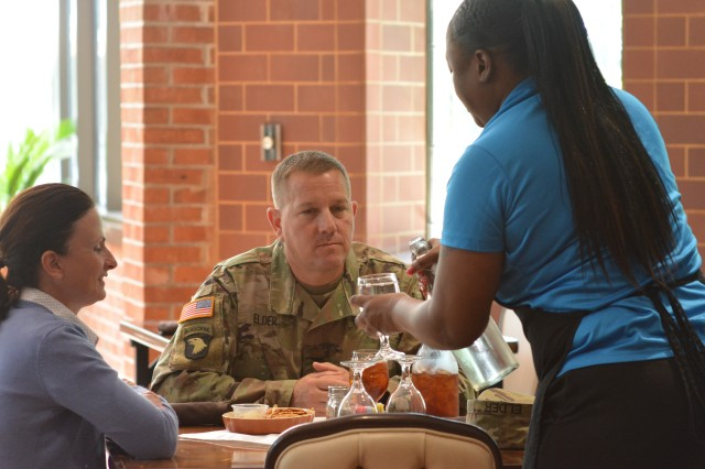 Victory Hall, formerly the Officer's Club, offers optionally healthy lunches that can be personalized to taste. Col. Stephen Elder, Fort Jackson garrison commander places an order.