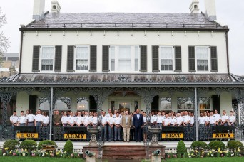 International Cadets gather together for a reception with USMA leaders
