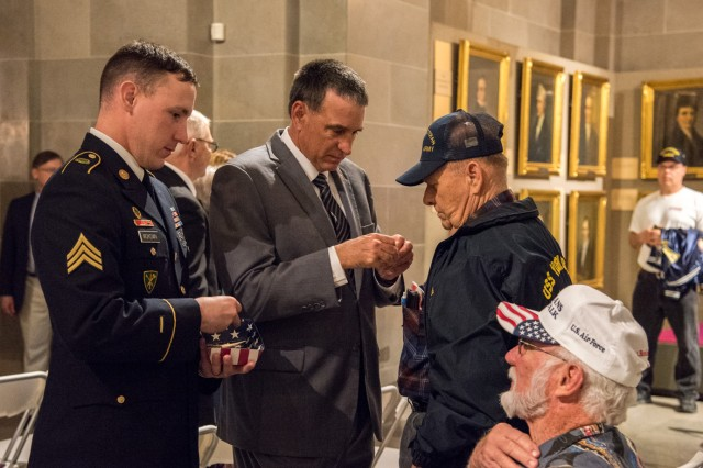 Soldiers from the MSCoE NCOA assisted legislators in a pinning ceremony for veterans at the state Capitol April 25 to commemorate the 50th anniversary of the Vietnam War.