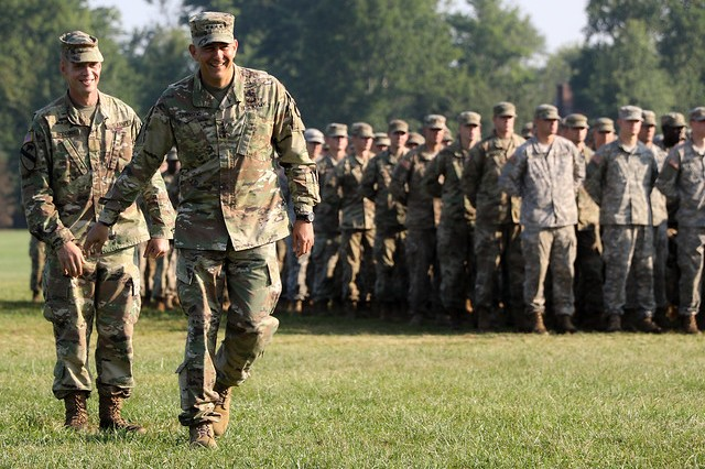 Commanding General of TRADOC, Gen. Stephen J. Townsend attends 5th Regiment, Advanced Camp's graduation, July 25, 2018.