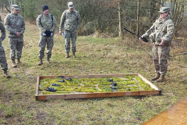 Members of the Expert Field Medical Badge board validate Combat Testing Lane 3 in preparation for testing at the Grafenwoehr Training Area, Germany, March 15, 2019.  Support personnel spent seven days constructing this lane prior to the start of testing.
