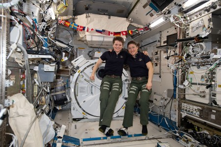 NASA astronauts (from left) Anne McClain and Christina Koch pose for a portrait inside the Kibo laboratory module from the Japan Aerospace Exploration Agency . Both Expedition 59 flight engineers are members of NASA's 2013 class of astronauts.