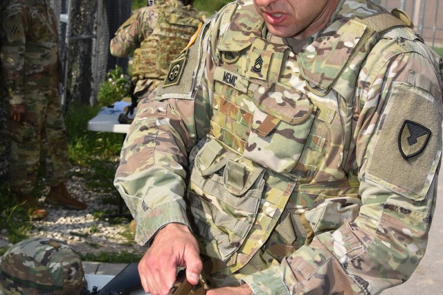 Sgt. 1st Class Enes Memic re-assembles an M-17 as part of the Army Contracting Command 2019 Best Warrior Competition April 29 at Fort Hood, Texas. Memic, an acquisitions, logistics and technology NCO with the 409th Contracting Brigade at Sembach Kaserne, Germany, is a runner up for the ACC 2019 Best Warrior Competition.