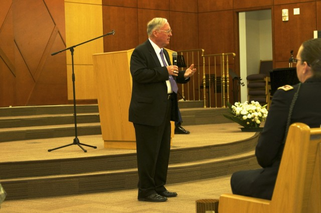 Col. (Ret.) William Michael Alexander, 2nd Infantry Division/ROK-U.S. Combined Division Museum director and command historian gives closing remarks to his presentation during the Days of Remembrance Observance May 2, 2019, Freedom Chapel, Camp Humphreys, Republic of Korea. The annual Days of Remembrance, established by the U.S. Congress, begins on the Sunday prior to Yom HaShoah, Holocaust Memorial Day. (U.S. Army photos by Sgt. Kayla Hocker, 20th Public Affairs Detachment)