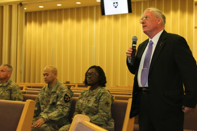 Col. (Ret.) William Michael Alexander, 2nd Infantry Division/ROK-U.S. Combined Division Museum director and command historian speaks about the role of 2ID in the liberation of Jewish concentration camps in Germany during the Days of Remembrance Observance May 2, 2019, Freedom Chapel, Camp Humphreys, Republic of Korea. The United States Holocaust Memorial Museum was dedicated in 1993 and has welcomed over 40 million visitors. (U.S. Army photo by Sgt. Kayla Hocker, 20th Public Affairs Detachment)
