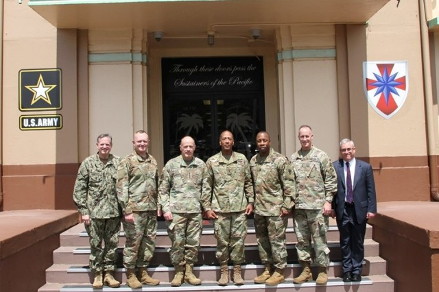 U.S. Transportation Command (USTRANSCOM) Commander Gen. Stephen Lyons and his team visited the 8th Theater Sustainment Command. Gen. Lyons commanded the 8th TSC from 2012 to 2014 and it was great to welcome him back to discuss #logistics for the #Pacific theater through the #joint lens!