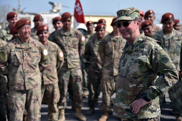 Air Force Gen. Joseph Lengyel, chief, National Guard Bureau, talks with Hawaii National Guard members deployed with the Multinational Force and Observers, the Sinai Peninsula, Egypt, May 1, 2019.