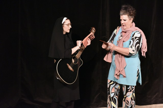 """Lucy Reardon performs as Sister Mary with her real-life mother, Misty Reardon, playing Shirley in """"DISASTER, the Musical"""" at Soldiers' Theatre on Caserma Ederle."""