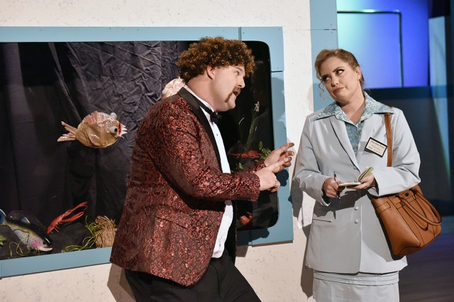 """Sgt. 1st Class Dan Galvin portrays the character of Tony during a scene of """"DISASTER, the Musical"""" with Heather Rockel. Galvin earned a TOPPER for Best Stage Properties for a Musical, and Rockel scored a nomination for Best Costume Design."""