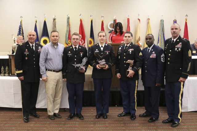 Winners of the annual Kansas Army National Guard Best Warrior Competition are recognized at the 2019 Joint Conference April 27, 2019. The 2019 Annual Joint Conference, hosted this year by the 235th Regiment, was the 65th annual meeting of the National Guard Association of Kansas and the 47th annual meeting of the Enlisted Association of the National Guard of Kansas and held in Manhattan, Kansas, April. 26-27, 2019.