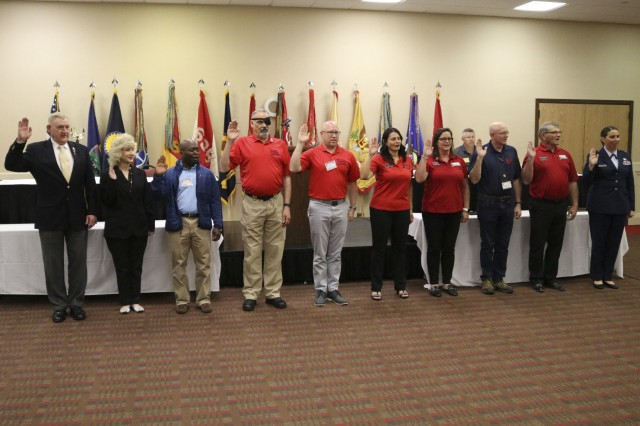 Newly elected officers of the National Guard Association of Kansas take the oath of office at the 2019 Joint Conference April 27, 2019. The 2019 Annual Joint Conference, hosted this year by the 235th Regiment, was the 65th annual meeting of the National Guard Association of Kansas and the 47th annual meeting of the Enlisted Association of the National Guard of Kansas and held in Manhattan, Kansas, April. 26-27, 2019.