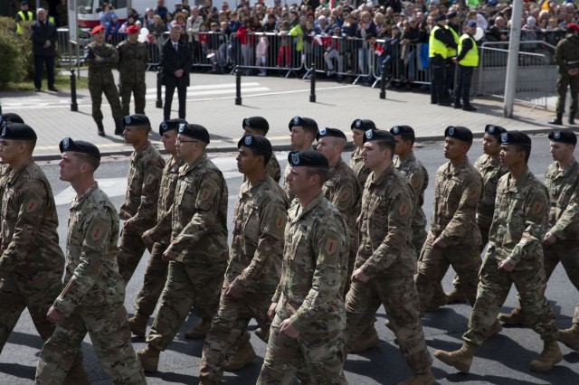 Soldiers from 2nd Battalion, 34th Armored Regiment, 1st Infantry Division from Fort Riley, Kansas, march in formation during Poland's Constitution Day Parade in Warsaw, Poland, May 3, 2019. Approximately 30 Soldiers from 2nd Bn, 34th Armored Regt., 1st ABCT, 1st ID and four Soldiers from 5th Battalion, 7th Air Defense Artillery out of Baumholder, Germany, took part in Poland's Constitution Day Parade. (U.S. Army photo by Sgt. Thomas Mort)