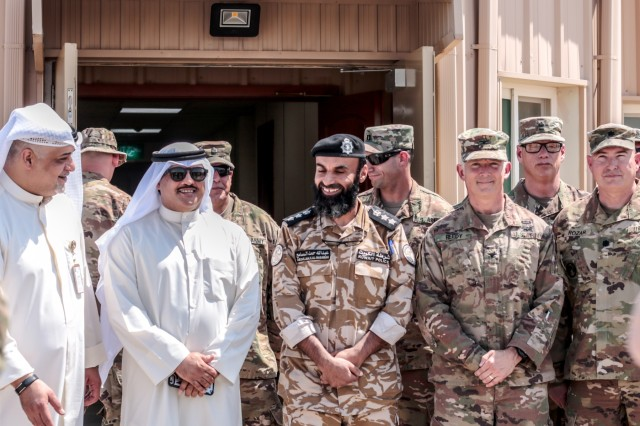 U.S. Army and Kuwait partners gather for a photo during the Khabari Crossing ribbon cutting ceremony April 30, 2019. (U.S. Army photo by Sgt. Nahjier Williams)