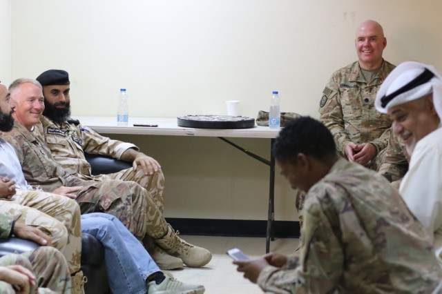 U.S. Army and Kuwait border and customs control officials discuss current and future plans following a ribbon cutting ceremony at Khabari Crossing, Kuwait, April 30, 2019. (U.S. Army photo by Sgt. Nahjier Williams)