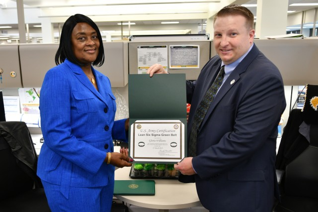 Gloria Williams, Military Surface Deployment and Distribution Command Document Management Oversight branch traffic management specialist, received her Lean Six Sigma Green Belt certification at Scott Air Force Base, Illinois, May 1.