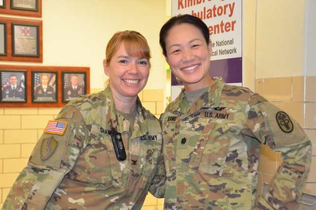 Col. Janie Shaw, Deputy Commander for Nursing (left) and Lt. Col. Hyun Kang, Chief, Dept. of Operational Medicine, USAMEDDAC, Fort George G. Meade, were present at the Nurses Week kick-off event, Monday 6 May 2019, KACC lobby.