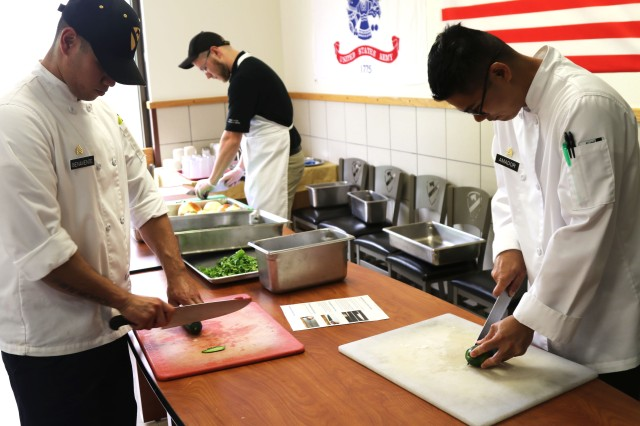 Soldiers from 120th Quartermaster Company, 1st Special Troops Battalion, 1st Cavalry Division Sustainment Brigade assigned to Freeman Café, conducted training for the revamped Go for Green 2.0 program. The training, which was facilitated by CHAMP and USARIEM, took place April 16-19 at Fort Hood.