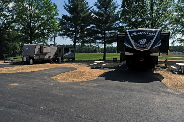 Fort A.P. Hill, Virginia's newly-renovated Recreational Vehicle Park has 30 paved campsites with electric, water and sewer connections plus quiet surroundings.