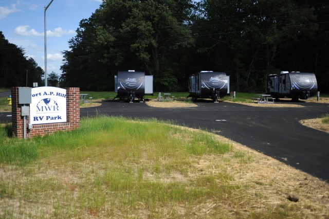 Fort A.P. Hill, Virginia's newly-renovated Recreational Vehicle Park has 30 paved campsites with electric, water and sewer connections plus quiet surroundings. It also has campers like these for rent.