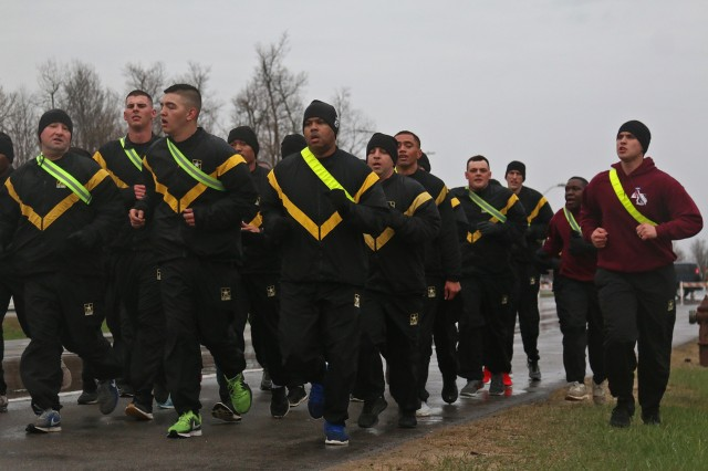 Soldiers of the 210th Brigade Support Battalion, 2nd Brigade Combat Team, 10th Mountain Division, joined Capt. Aaron Oliver, the 210 chaplain, during physical training for the battalion's monthly spiritual fitness PT event, May 1, 2019, at Fort Drum, New York. Oliver and Provider Soldiers ran together before walking through the Spiritual Fitness Trail and sharing a fellowship breakfast at the North Riva Ridge Chapel. (U.S. Army photo by Staff Sgt. Paige Behringer)