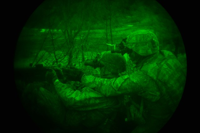 U.S. Army Paratroopers, assigned to the 173rd Brigade Support Battalion, 173rd Airborne Brigade, observe the area during a night live-fire exercise as part of Lipizzaner IV at Pocek Range in Postonja, Slovenia, Mar. 13, 2018. Lipizzaner is a combined squad-level training exercise in preparation for platoon evaluation, and to validate battalion-level deployment procedures. The 173rd Airborne Brigade is the U.S. Army Contingency Response Force in Europe, capable of projecting ready forces anywhere in the U.S. European, Africa or Central Commands' areas of responsibility. (U.S. Army photo by Davide Dalla Massara)