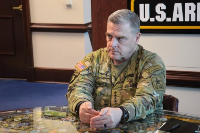 Chief of Staff of the Army Gen. Mark A. Milley discusses the changing character of war and where Army sustainment is heading in the future. (Photo Credit: Samuel Curtis)