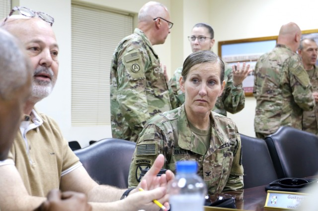 U.S. Army Col. Ellen Shannon-Ball, 452d Combat Support Hospital, has a conversation with officials at Camp Arifjan, Kuwait, May 5, 2019. (U.S. Army National Guard photo by Sgt. Connie Jones)