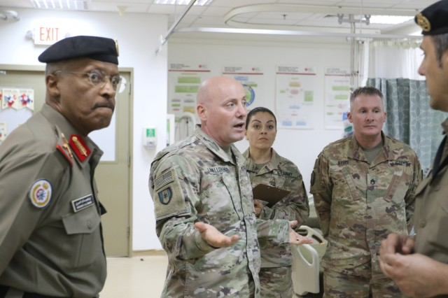 U.S. Army Maj. Peter Fallgren, 452d Combat Support Hospital, speaks to distinguished visitors at Camp Arifjan, Kuwait, May 5, 2019. (U.S. Army National Guard photo by Sgt. Connie Jones)
