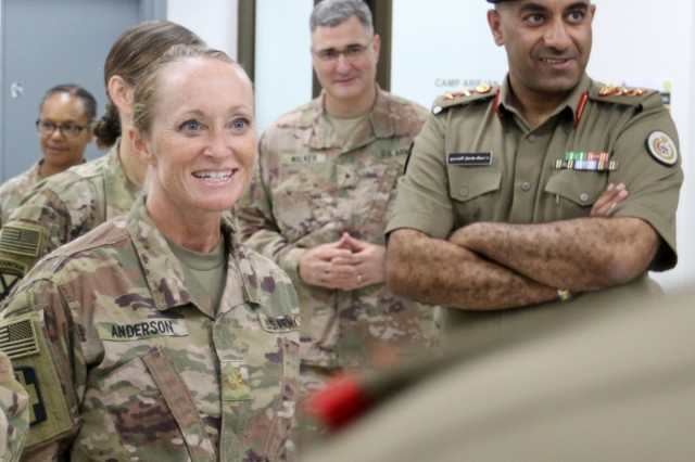 U.S. Army Maj. Barbara Anderson, 452d Combat Support Hospital, speaks to distinguished visitors at Camp Arifjan, Kuwait, May 5, 2019. (U.S. Army National Guard photo by Sgt. Connie Jones)
