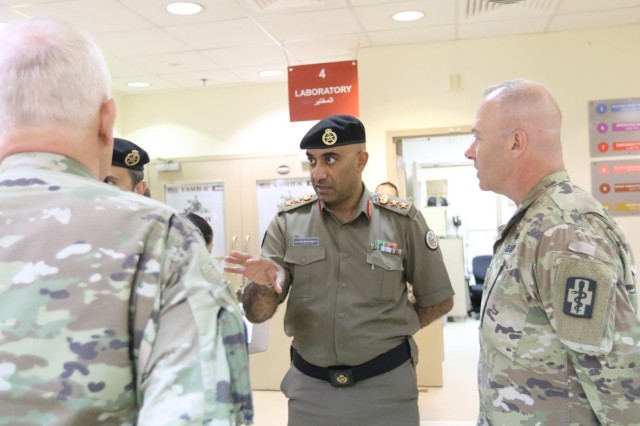 Col. Nawaf Aldosari, M.D., director of Kuwait North Military Medical Complex, speaks to members of 452d Combat Support Hospital, at Camp Arifjan, Kuwait, May 5, 2019. (U.S. Army National Guard photo by Sgt. Connie Jones)