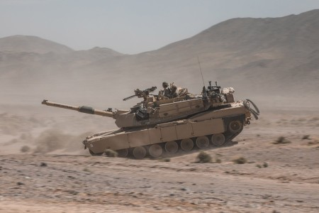 An M1A2 Abrams maneuvers in the training area of Fort, Irwin Calif., during 2nd Armored Brigade Combat Team, 1st Cavalry Division's Decisive Action Rotation.
