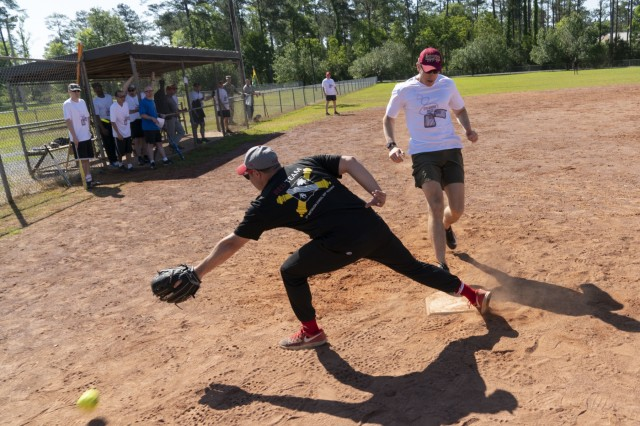 The 177th Armored Brigade hosted the Spearhead Softball Tournament, April 25-29, 2019 at Camp Shelby, MS. The competition brought together Soldiers and families of the Spearhead brigade, and also promoted the importance of physical fitness and communication skills. (U.S. Army photo by Sgt. Roger Houghton/177th Armored Brigade Public Affairs)