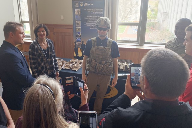 """I think the Army has the most opportunities and benefits for you as a person than the other [military] branches,"" said Adam Dufresne (pictured here), a recent graduate of Nashoba Valley Technical High School intends to enlist in the Army. The Our Community Salutes event, held April 27 at Northeastern University in Boston, encourages communities to recognize and honor high school students who plan to enlist upon graduation."