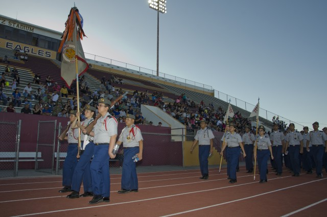 JROTC Cadets march in for the annual review and awards ceremony at Andress High School in El Paso, Texas, on May 3, 2019.