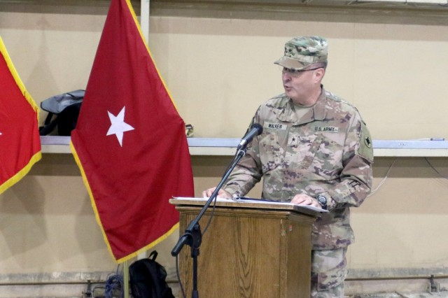 Brig. Gen. Clint E. Walker, deputy commanding general of 1st Theater Sustainment Command, speaks during a transfer of authority ceremony for United States Military Hospital-Kuwait at Camp Arifjan, Kuwait, May 6, 2019. (U.S. Army National Guard photo by Sgt. Connie Jones)