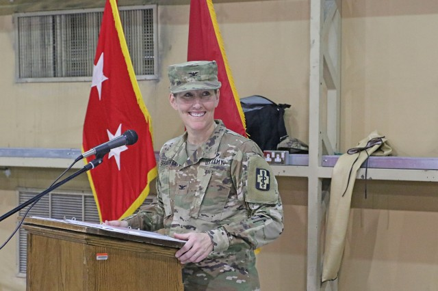 Col. Ellen Shannon-Ball, 452d Combat Support Hospital commander, speaks to the audience during a transfer of authority ceremony for United States Military Hospital - Kuwait at Camp Arifjan, Kuwait, May 6, 2019. (U.S. Army National Guard photo by Sgt. Connie Jones)