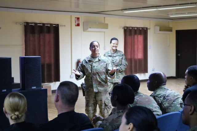 Capt. Christina Calello, shares her knowledge and experiences as a behavior health officer in reference to suicide during Task Force Cavalier Suicide Prevention Training at Camp Taji, Iraq, May 3, 2019. (U.S. Army National Guard photo by Sgt. Roger Jackson)