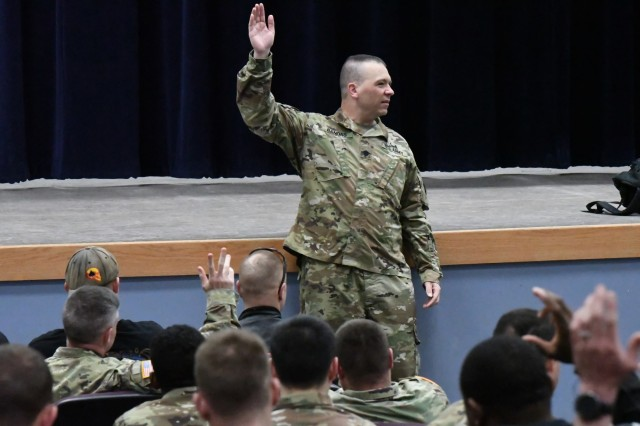 Lt. Col. Stefan Bandas, 10th Mountain Division Sustainment Brigade deputy commander, addresses Fort Drum motorcyclists May 6 during the 5th annual Motorcycle Safety Symposium at the Multipurpose Auditorium. (Photo by Mike Strasser, Fort Drum Garrison Public Affairs)