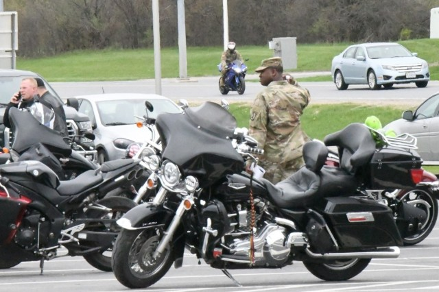 Nearly 150 riders from the 10th Mountain Division (LI) gathered May 6 for the 5th annual Motorcycle Safety Symposium at Fort Drum in support of Motorcycle Awareness Month. (Photo by Mike Strasser, Fort Drum Garrison Public Affairs)