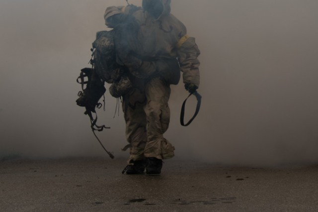 Competitors begin crossing the finish line of the 2019 Best CBRN Warrior Competition at Fort Leonard Wood May 2.