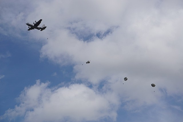 Airborne Soldiers leave a C130 May 2 on Fort Stewart as part of the Georgia National Guard's Parachute Operations Mishap Prevention Orientation Course.