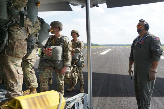 Soldiers board a C-130 at Wright Army Airfield, May 2, as part of the Georgia National Guard's Parachute Operations Mishap Prevention Orientation Course held on Fort Stewart.