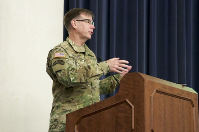 ARCYBER Commanding General, Lt. Gen. Stephen Fogarty, delivered the keynote address at the EITaaS collaboration day on May 7, 2019.