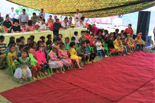 XIN CAI, Vietnam - (May 7, 2019) The U.S. Army Corps of Engineers (USACE) is building bright futures for children in Vietnam. U.S. leaders officially turned over the keys to a brand new two-story kindergarten in Northwest Vietnam, Hagiang Province, near the border of China, during a ribbon-cutting ceremony May 7. The U.S. Army Corps of Engineers (USACE)-led project is a robust concrete masonry structure with onsite wastewater treatment. The 3,650 square-foot kindergarten has six classrooms and can hold up to 320 children. (Courtesy photo: U.S. Embassy in Vietnam)