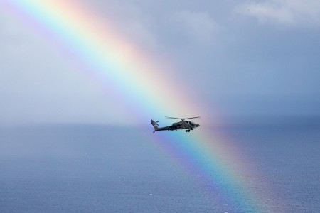 The 25th Combat Aviation Brigade, 25th Infantry Division, flies 19 AH-64 Apache helicopters in an organized formation around Oahu, May 1, 2019. The 6th Cavalry Regiment is flying to commemorate the 158th anniversary of the the regiment's activation.