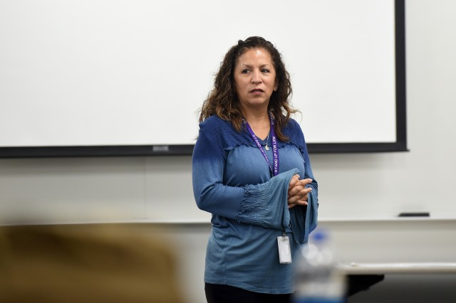 Carmella Navarro, Suicide Prevention Program Manager, 85th U.S. Army Reserve Support Command, gives a brief on suicide prevention services and support during the 85th USARSC's Unit Ministry Team workshop, April 29 - May 3, 2019. The workshop trained the command's Brigade Support Element UMTs on mandatory training topics directed by the Chief of Chaplains and U.S. Army Forces Command's Chaplains Office. Additionally, it instructed UMTs  on how to best utilize Army Reserve  resources to provide religious support; communicate expectations for support to suicidal Soldiers and other critical issues; outlined Army Reserve career progression in the Chaplain branch and trained best practices for religious support and support to the command's mission with their First Army partners. (U.S. Army Reserve photo by Anthony L. Taylor)