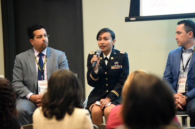Army Reserve Lt. Col. Vickie Argueta, Equal Opportunity Advisor, 85th U.S. Army Reserve Support Command, sits on a panel discussion during the Hispanic Alliance for Career Enhancement leadership summit held in Chicago, April 25, 2019. Argueta, attended the summit, in coordination with the University of Illinois and the Army Public Affairs - Midwest Office, to represent the Army and share her personal stories in military service. Topics that Argueta, Chicago native, focused on were career advancement, diversity and inclusion, and cultural awareness. More than 400 mid-level and senior professionals attended the summit. In her civilian capacity, Argueta is a Senior Assistant Corporation Counsel for the City of Chicago. (U.S. Army Reserve photo by Anthony L. Taylor)