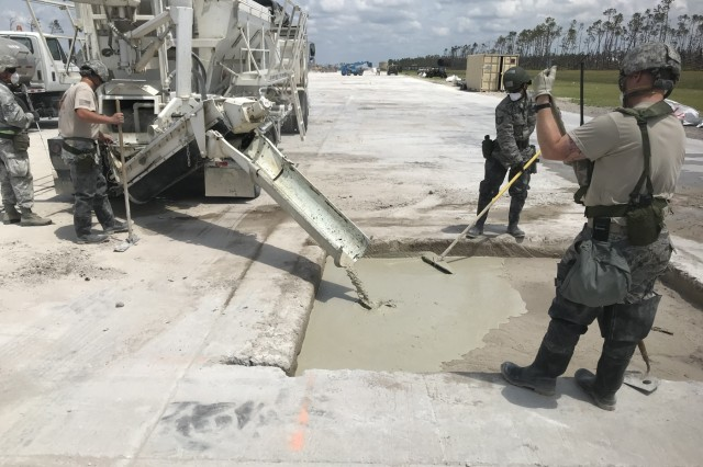 Airmen from the MA Air National Guard's 102nd Civil Engineer Squadron participate airfield recovery operations at the Silver Flag Exercise Site at Tyndall Air Force Base, Florida on May 8, 2019.