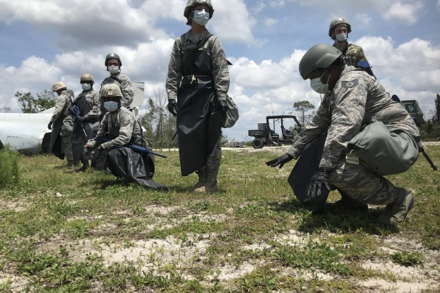 Airmen from the MA Air National Guard's 102nd Civil Engineer Squadron participate search and recover operations at the Silver Flag Exercise Site at Tyndall Air Force Base, Florida on May 8, 2019.