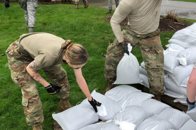 New York Army and Air National Guard personnel conduct sandbagging operations near Sodus Point, N.Y. on May 7, 2019, as part of the New York National Guard participation in New York state response to flooding along the Lake Ontario shoreline. The lake is currently two feet higher than normal water levels and New York Governor Andrew M. Cuomo has directed the mobilization of 200 National Guard personnel to assist.